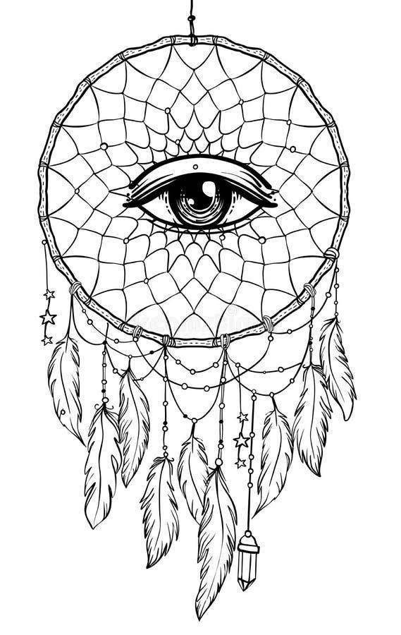 Dreamcatcher indien indigène tiré par la main de talisman avec l'oeil illustration de vecteur