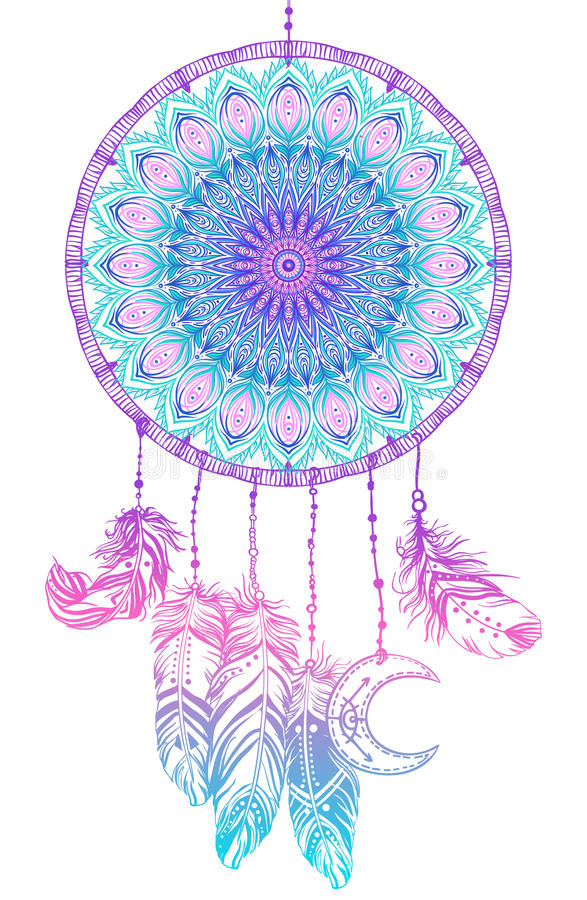 Dreamcatcher indien indigène tiré par la main de talisman avec le fea illustration libre de droits