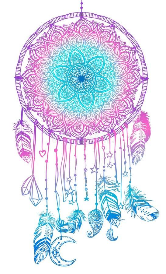 Dreamcatcher indien indigène tiré par la main de talisman avec le fea illustration stock