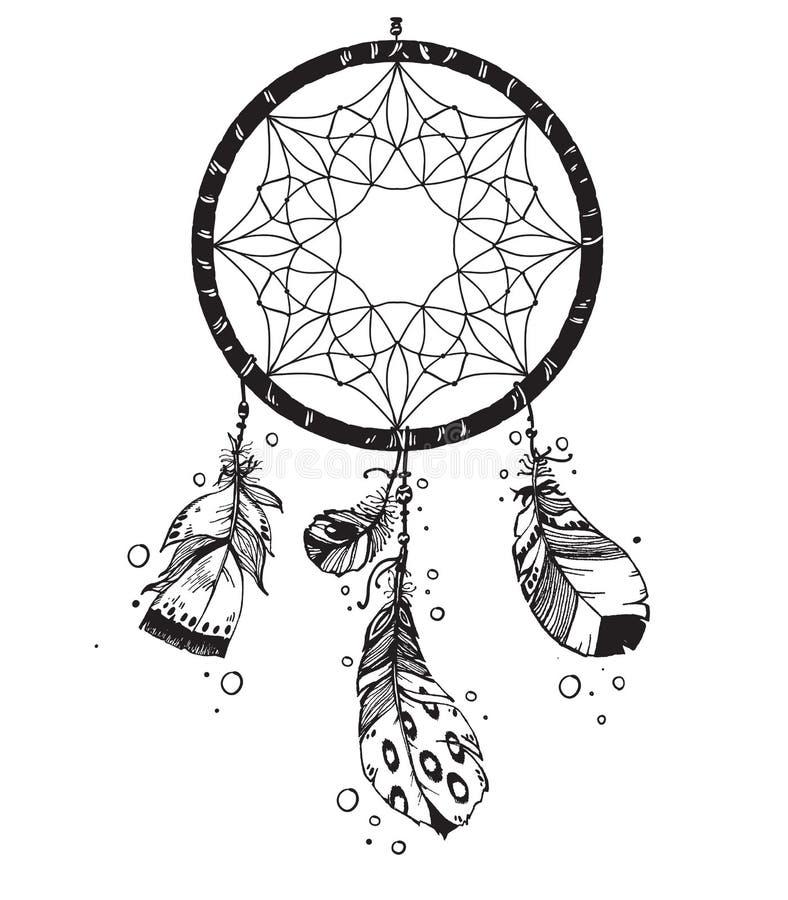 Dreamcatcher indien indigène W de talisman de vecteur tiré par la main illustration de vecteur