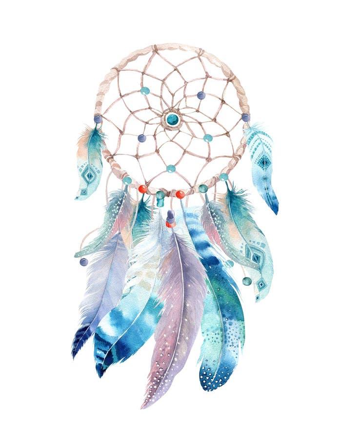 Dreamcatcher isolado do bohemian da decoração da aquarela Feath de Boho ilustração stock