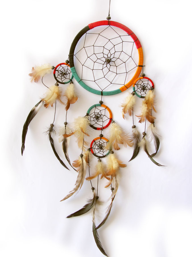 Dreamcatcher isolated in white royalty free stock image