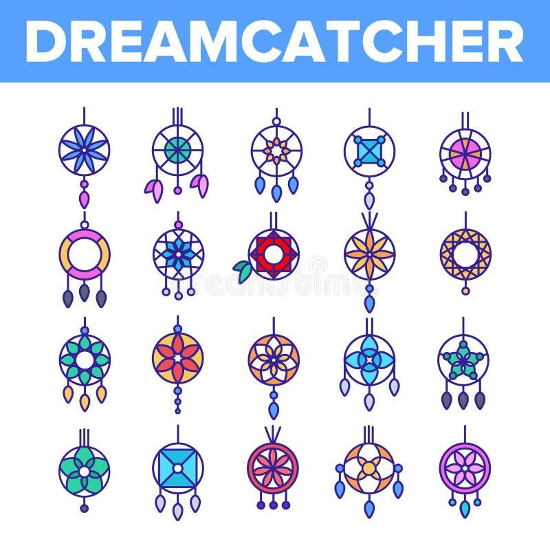 Dreamcatcher, l?nea fina sistema del vector del amuleto de los iconos libre illustration