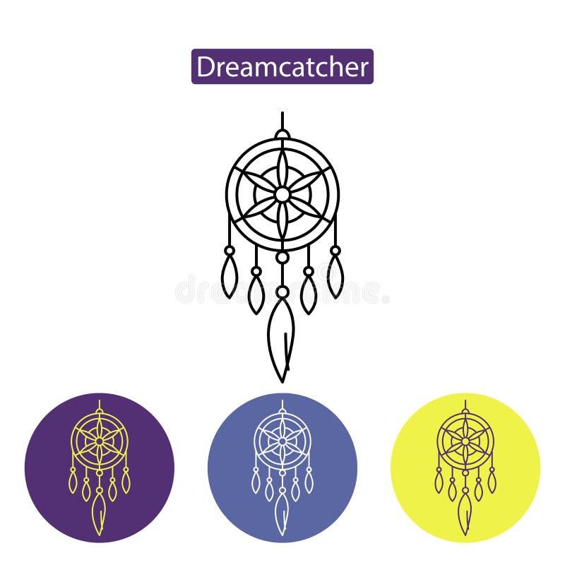 Dreamcatcher linii ikona ilustracji