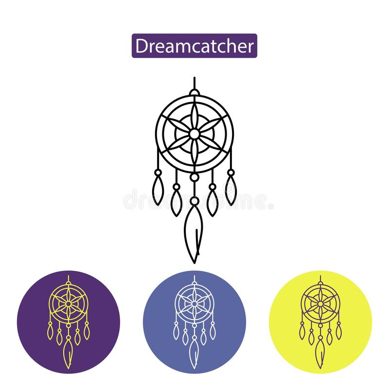 Dreamcatcher linje symbol stock illustrationer