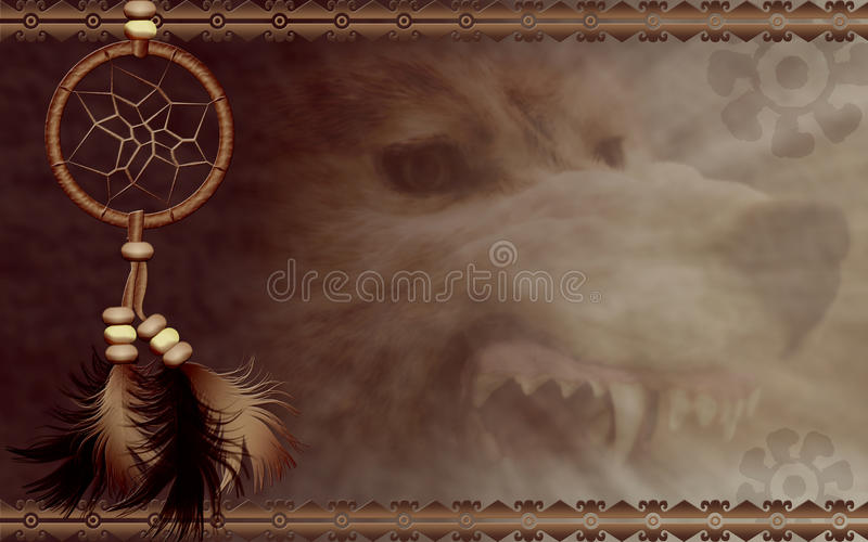Dreamcatcher mit verärgertem Wolf lizenzfreie stockbilder