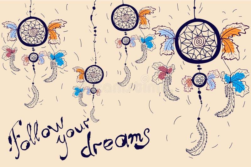 Dreamcatcher motivation card. Follow your dreams vector illustration