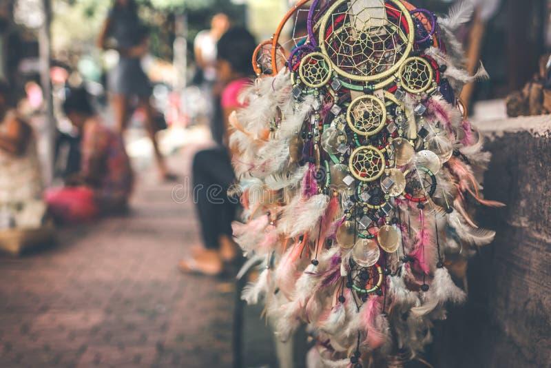 Dreamcatcher nel negozio della via sull'isola di Bali, Ubud fotografia stock