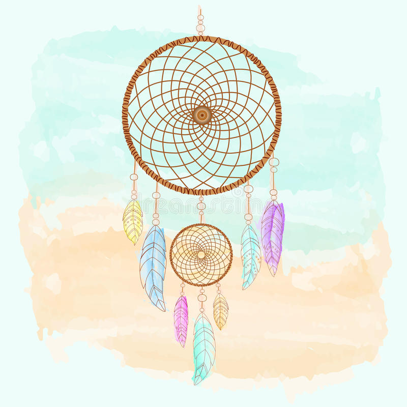 Dreamcatcher, plumes et aquarelle de perles illustration libre de droits