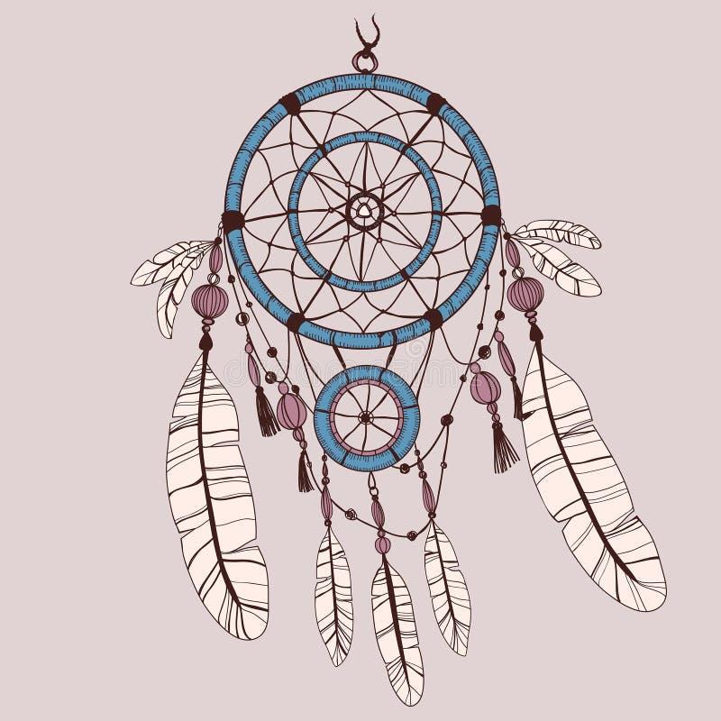 Dreamcatcher, plumes et perles illustration stock