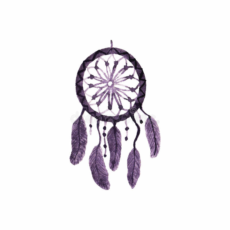 Dreamcatcher, plumes et perles simple illustration libre de droits