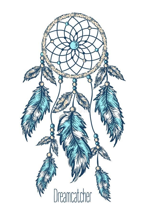 Dreamcatcher, plumes Tiré par la main illustration de vecteur