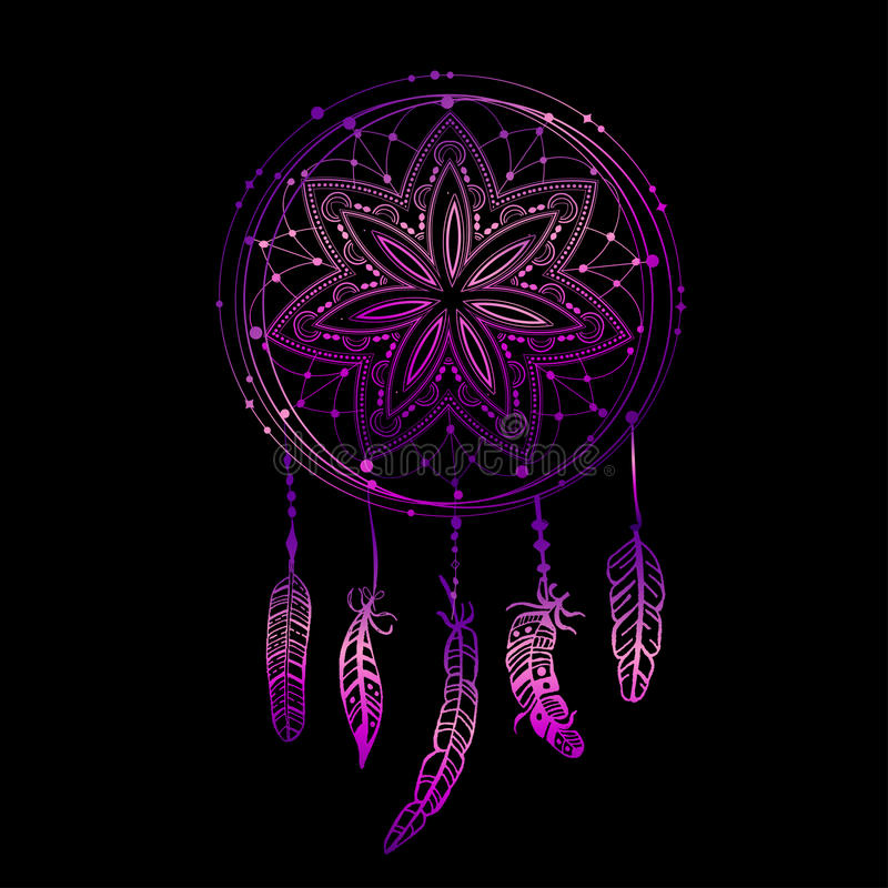 Dreamcatcher que brilla intensamente abstracto en colores azules y rosados stock de ilustración