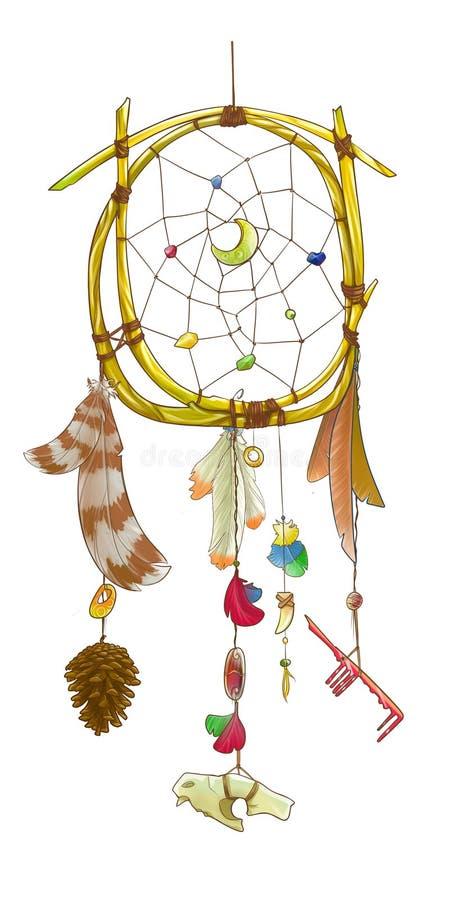 Dreamcatcher rond avec un pinecone illustration stock
