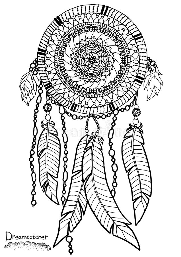 Dreamcatcher stock vector illustration of floral design for Adult coloring pages dream catchers