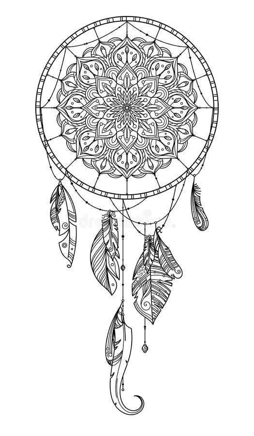Dreamcatcher tiré par la main avec la plume des oiseaux Illustration de vecteur illustration stock
