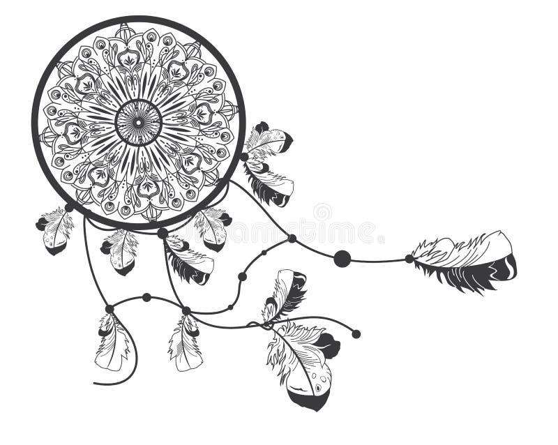 Dreamcatcher tiré par la main de natif américain avec des plumes illustration de vecteur