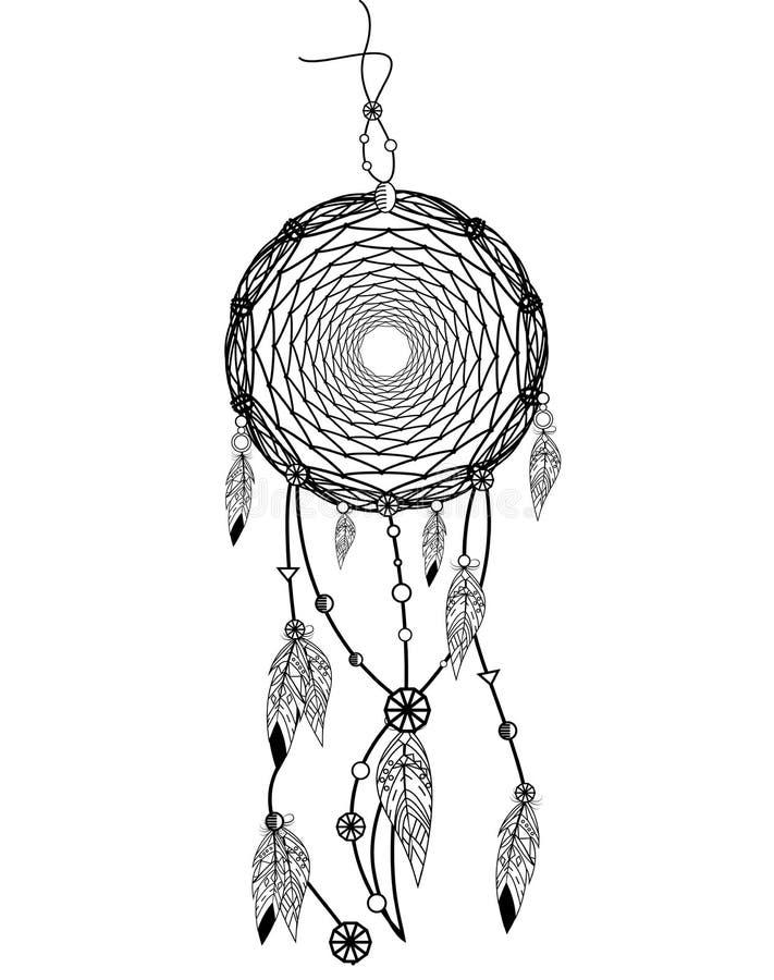 Dreamcatcher tiré par la main de natif américain avec des plumes illustration stock