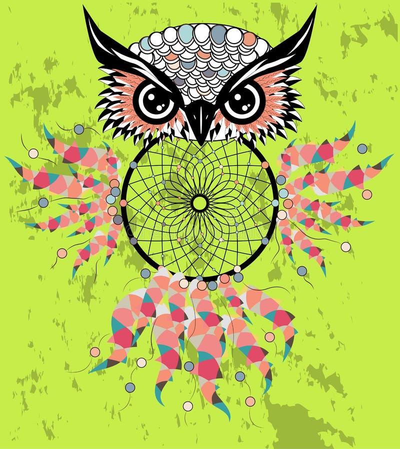 Dreamcatcher tirado mão com coruja, penas e todos os olhos de vista Talismã indiana no estilo do boho Símbolo étnico americano ilustração royalty free