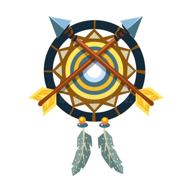 Dreamcatcher urok Z Krzyżować strzała, rodowity amerykanin kultury Indiański symbol, Etniczny przedmiot Od Północna Ameryka Odizo ilustracja wektor