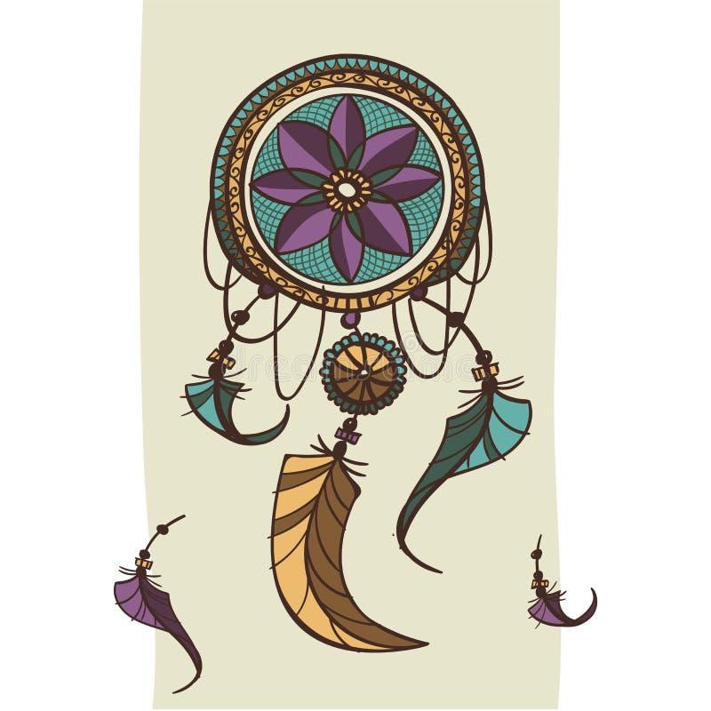 Dreamcatcher z piórko etnicznym drukiem z rodowitego amerykanina boho Indiańskim projektem, tajemnica symbol, ręka rysujący plemi ilustracja wektor