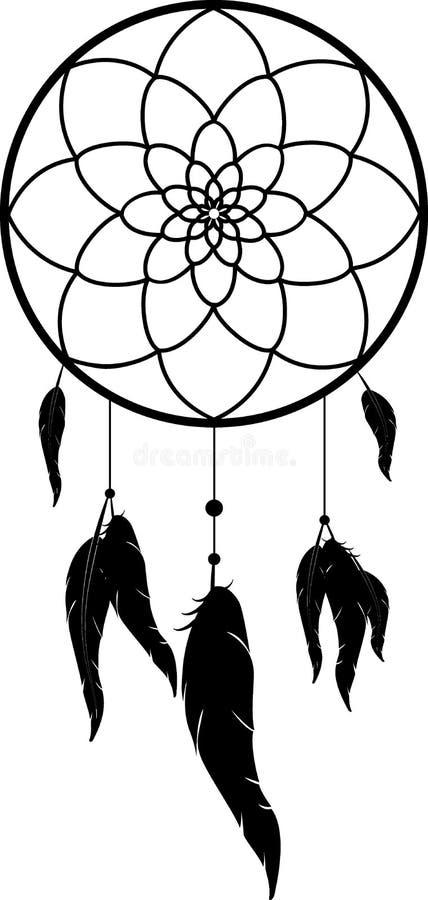 Dreamcatcher, zwarte zwart-wit vectorillustratie stock illustratie