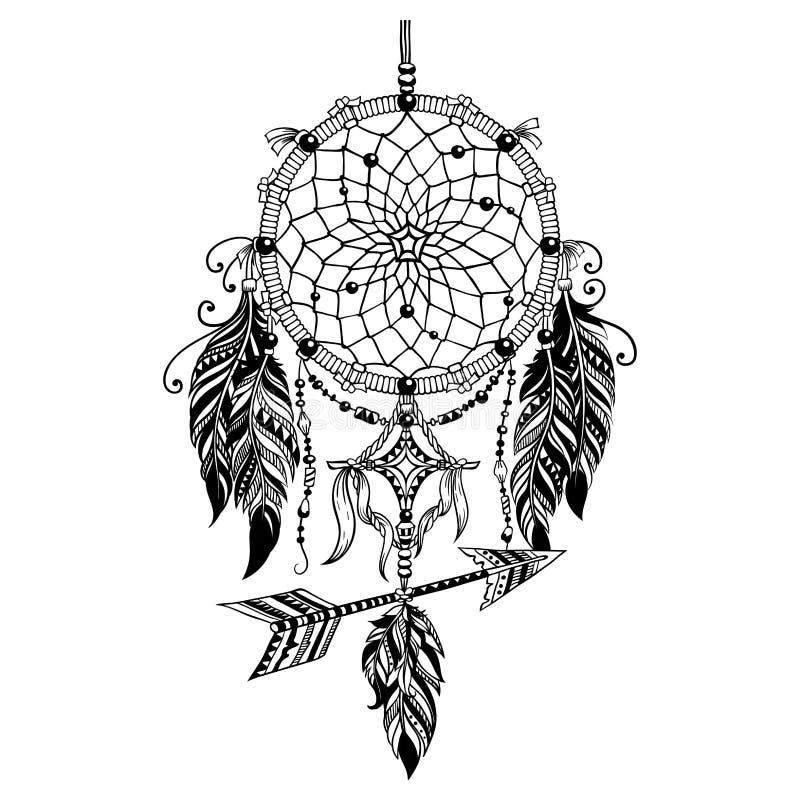 Dreamcatcherboho en indan stijl royalty-vrije stock afbeeldingen