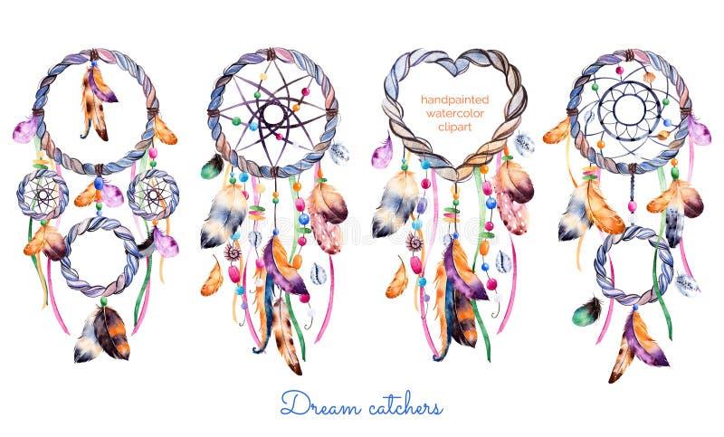 4 dreamcatchers的手拉的例证