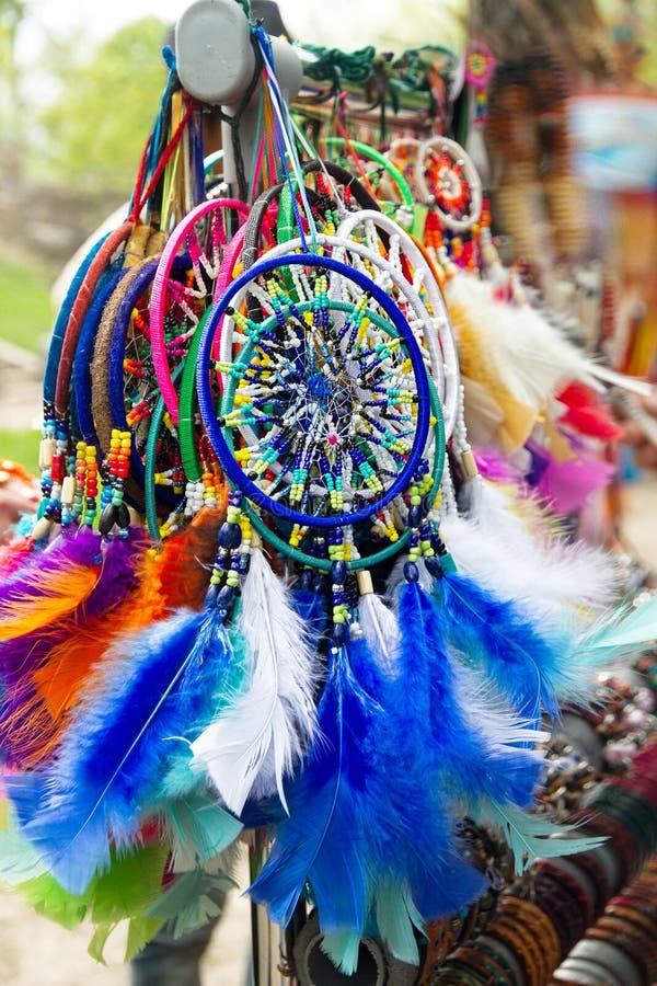 Dreamcatchers colorido feito a mão fotografia de stock royalty free