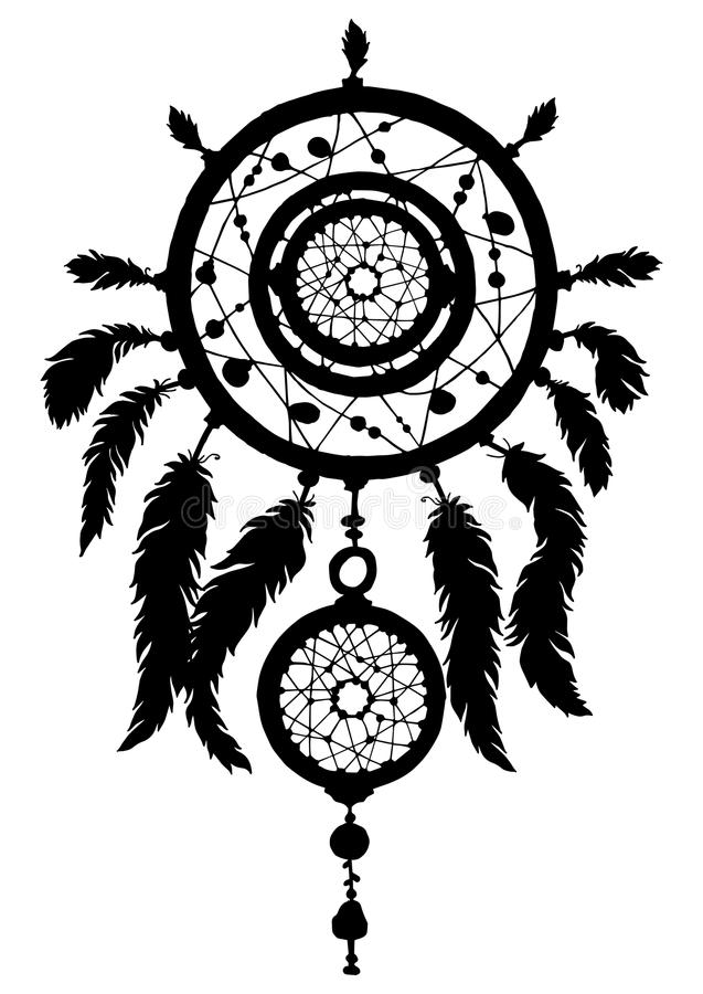 Dreamcatchersilhouet met parels en veren stock illustratie