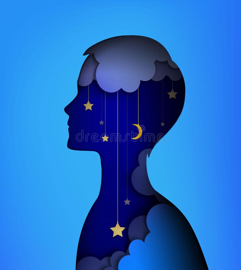 Dreamer concept, layers picture, Young boy silhouette with night sky inside, Night dream idea, stock illustration