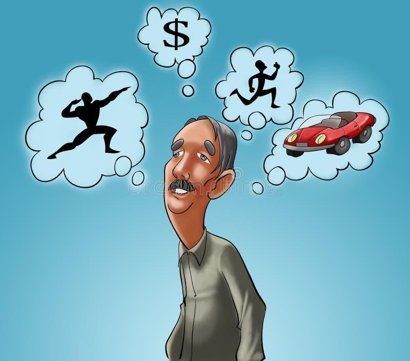 Download Dreamer old man stock illustration. Illustration of silhouettes - 15887633