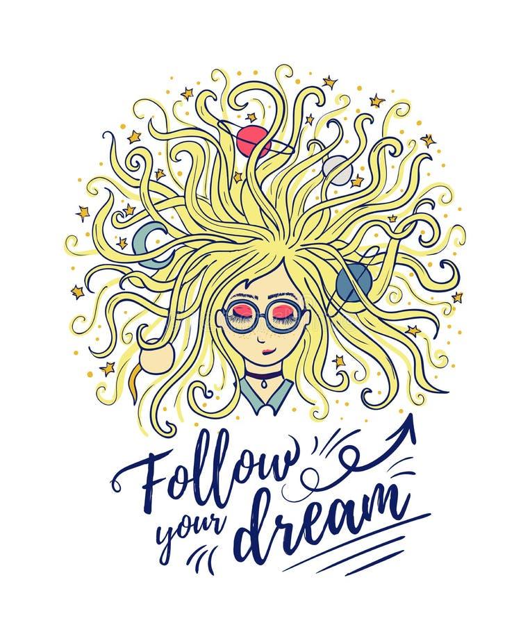 dreamer Os sonhos da menina com olhos fechados O cabelo louro do planeta e da estrela Processo ou meditação criativa ilustração stock