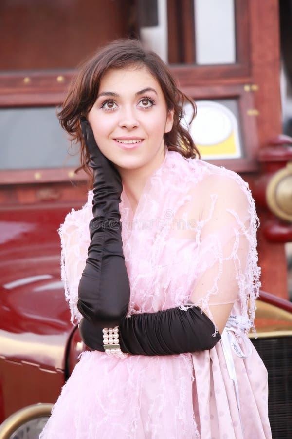 dreamful розовая женщина стоковое изображение