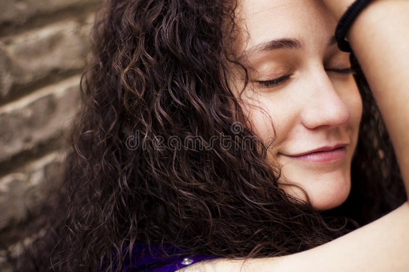 Dreamful young woman royalty free stock photos