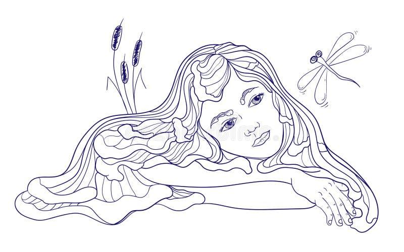 Dreamind syrenki dziecko z dragonfly royalty ilustracja