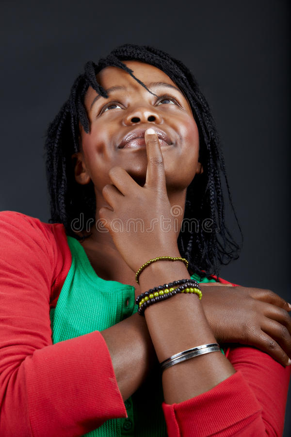 Dreaming African student stock image