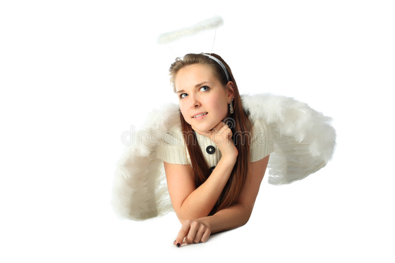 Dreaming angel. Portrait of a styled professional model: St. Valentine day, angel, love royalty free stock photos