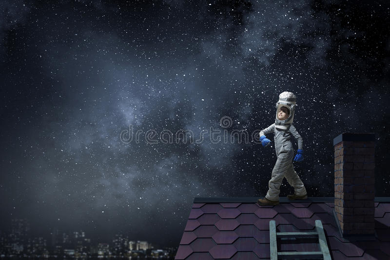 Dreaming of becoming a spaceman stock photo