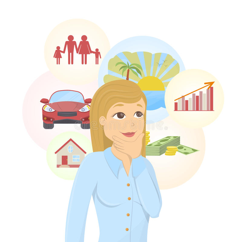 Dreaming businesswoman. Dreaming businesswoman with dream bubbles with family, money, car and more royalty free illustration