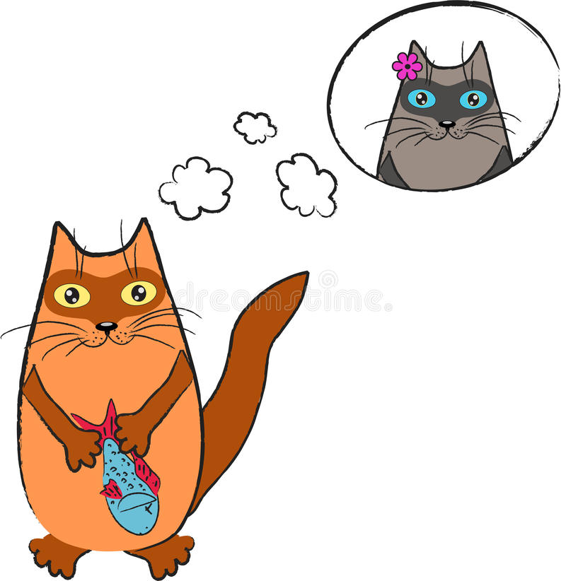 Download Dreaming cat stock vector. Image of happy, have, clouds - 24454396