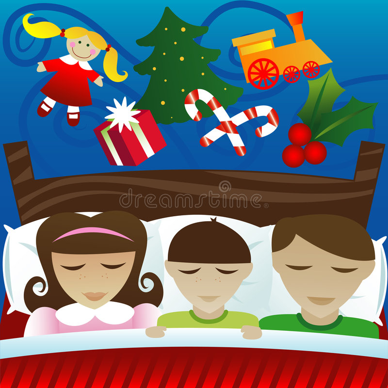 Dreaming of Christmas Morning royalty free illustration