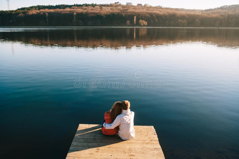 Dreaming couple of young teens royalty free stock images