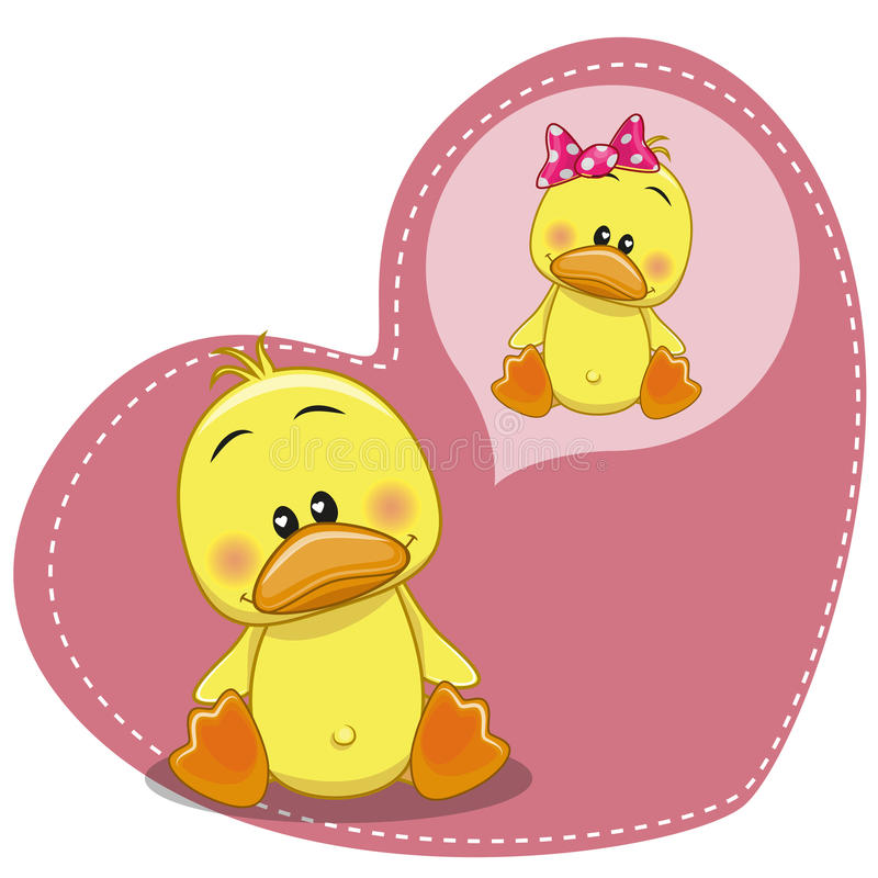 Dreaming Duck. Greeting card Cute Dreaming Duck stock illustration