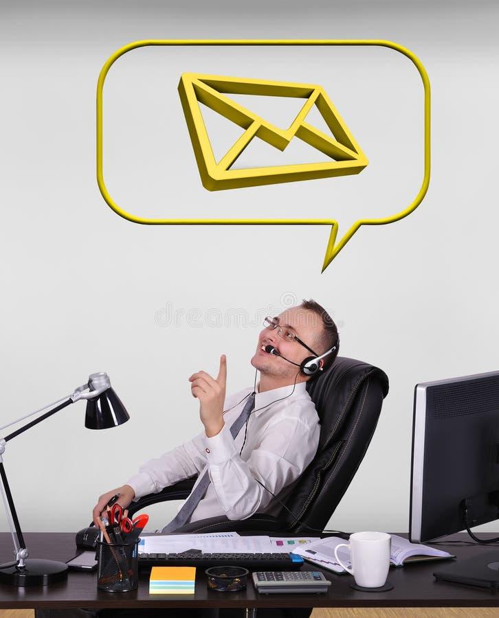 Dreaming at email. Happy customer service representative dreaming at email vector illustration