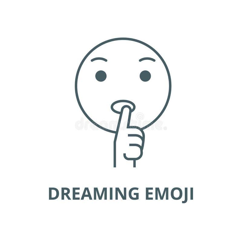 Dreaming emoji  line icon, vector. Dreaming emoji  outline sign, concept symbol, flat illustration. Dreaming emoji  line icon, vector. Dreaming emoji  outline vector illustration