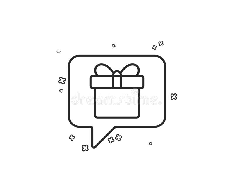 Dreaming of Gift line icon. Present box sign. Vector. Dreaming of Gift line icon. Present box sign. Birthday Shopping symbol. Package in Gift Wrap. Geometric stock illustration