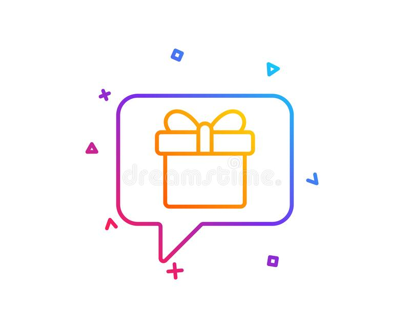 Dreaming of Gift line icon. Present box sign. Vector. Dreaming of Gift line icon. Present box sign. Birthday Shopping symbol. Package in Gift Wrap. Gradient line royalty free illustration
