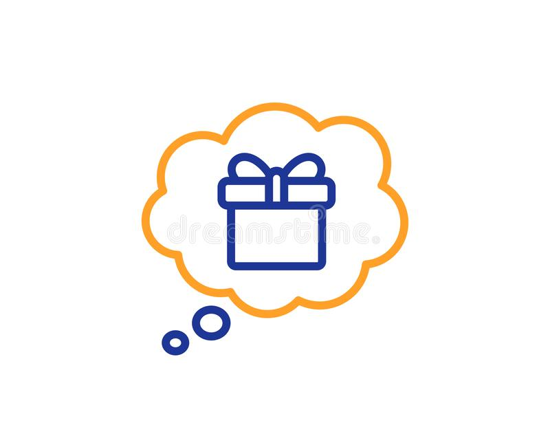 Dreaming of Gift line icon. Present box sign. Vector. Dreaming of Gift line icon. Present box in Comic speech bubble sign. Birthday Shopping symbol. Package in royalty free illustration
