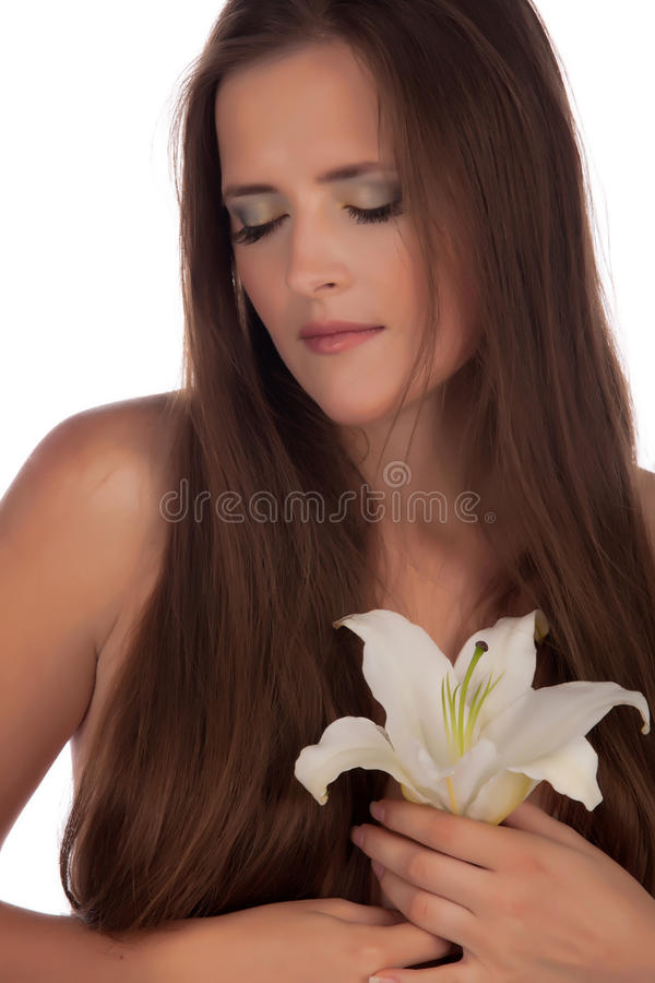 Download Dreaming girl with a lily stock photo. Image of close - 11776362